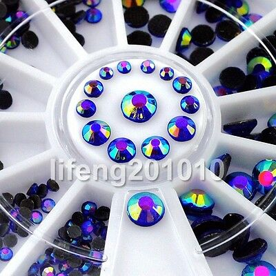 4 Sizes 3D Nail Art Glitter Rhinestone Wheel Nail Decoration Design Tool Blue AB