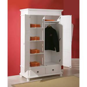 Armoire Penderie Dressing Rangement Chambre Vintage 2 Portes Bois