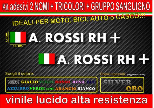 monocolore kit 2 adesivi NOME TRICOLORE GRUPPO SANGUIGNO casco,moto mtb bici