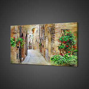 OLD-VILLAGE-ALLEY-ITALY-CANVAS-PICTURE-PRINT-WALL-ART-HOME-DECOR