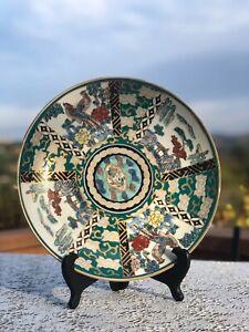 Japan Teal Dragons/birds Hand Painted Gold Imari Porcelain Dinner Charger Plate