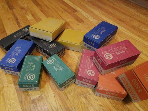 Authentic Coin Boxes! 5 Empty Bank Teller Boxes 1 Each Common Denoms Collection