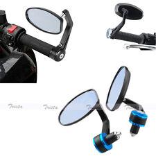 "Black&Blue Motorcycle Bike 7/8"" Handle-Bar End Side Rear View Mirrors Honda"