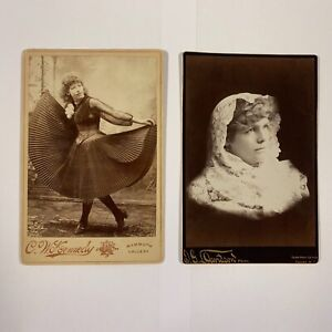Vintage-Cabinet-Size-Artistic-Photos-Pretty-Women-Lot-of-2