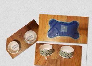 New-2-Blue-Ceramic-Pet-Bowls-Set-with-Mat