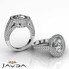 GIA Certified 3ct Diamond Vintage Engagement Women's Ring G SI1 14K White Gold