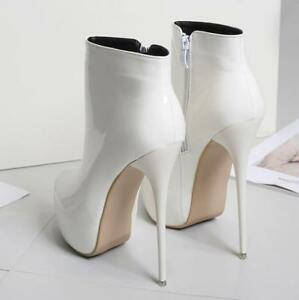 Chic-Womens-Ankle-Boots-Patent-Leather-High-Heels-Stilettos-Shoes-Wedding-Shoes