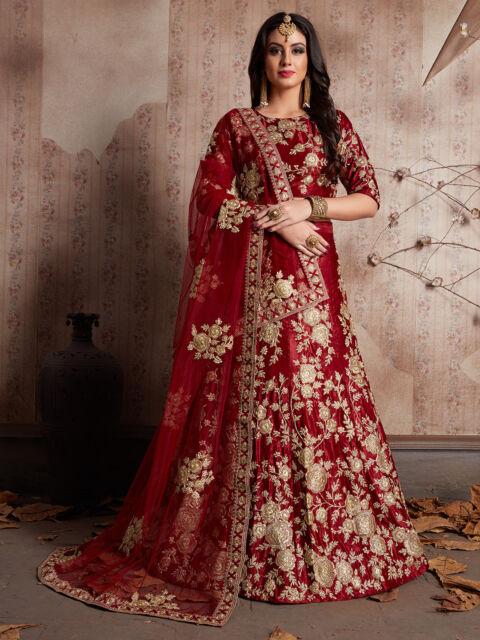 7d67f863b7 Maroon Bridal Lehenga Choli Velvet Eid Embroidery Work Wedding Ethnic Wear  S359M