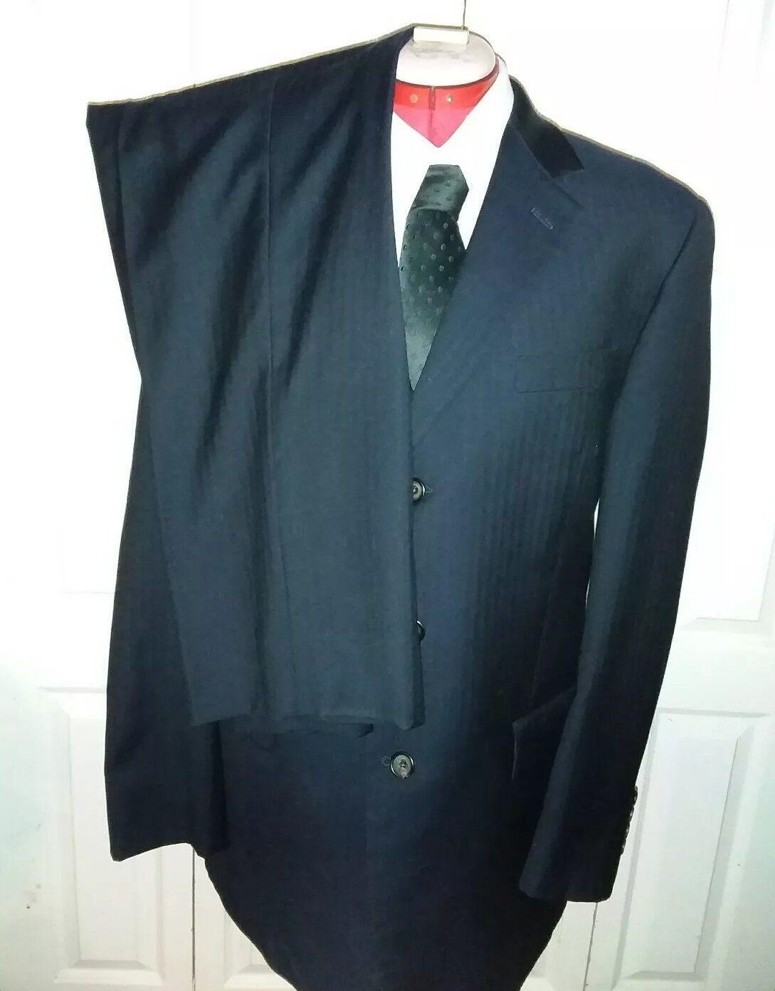 Ralph Lauren Green Label 3 Button Navy bluee Stripe Wool 2 Piece Suit 42R 38 30