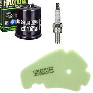 Peugeot Geopolis 300 11 - 14 Luftfilter Ölfilter NGK Zündkerzen Wartungskit Set