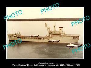 8x6-HISTORIC-PHOTO-OF-AUSTRALIAN-NAVY-HMAS-TOBRUK-amp-WESSEX-HELICOPTERS-c1980