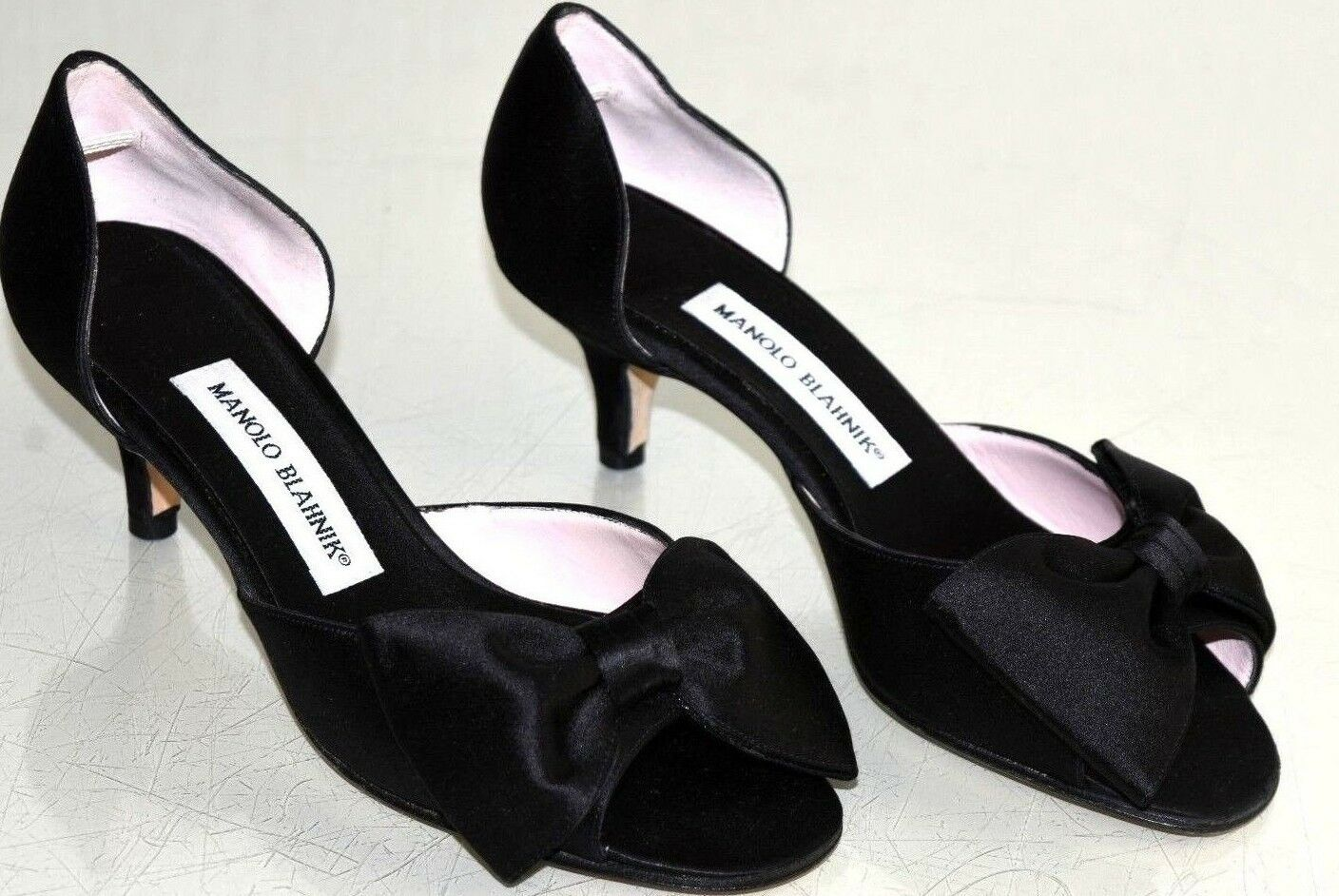785 New Manolo Blahnik CLAUSADO Bow Dorsay Black Satin Pumps Heels shoes 36.5