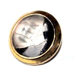 Bouton Ancien En Verre Noir Doré Et Nacré 18mm Button Jf0ur6gq-07230731-890913504
