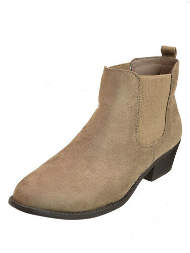 New Womens Slip On Low Heel Ankle Boots Taupe Size 7 Refresh