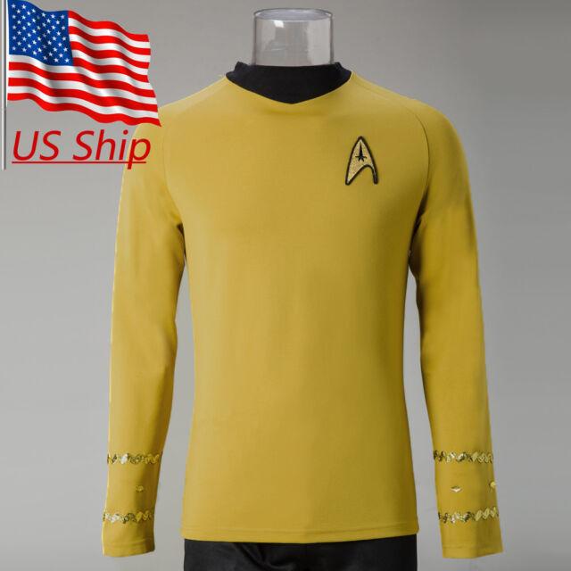 Star Trek Into Darkness Starfleet Kirk Spock Costume Suit Shirt Yellow Uniform