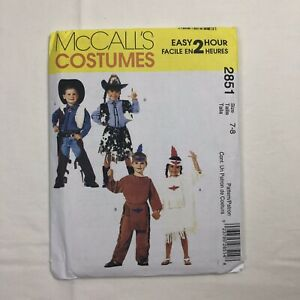 Details about McCall's 2851 Costumes Kids UNCUT Sewing Pattern Western  design Size 7-8