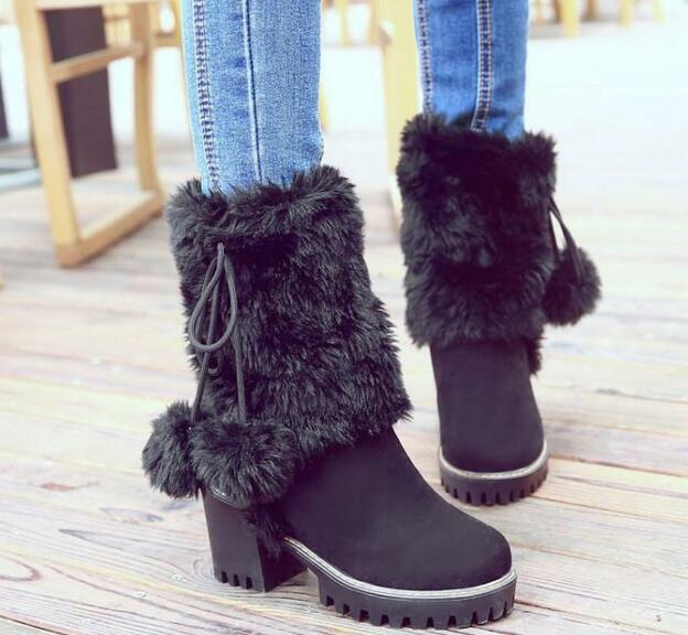 Womens Fur Ball Block High Heel Ankle Boots Snow Boots Furry Platform Boots New