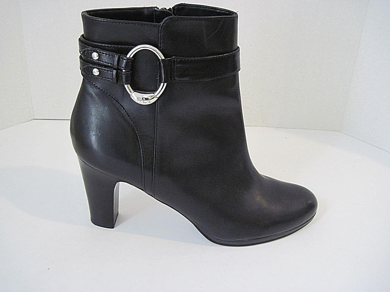 RALPH LAUREN MYLA Black Leather Women's Ankle Boots Zip Side Buckle Sz 10 B