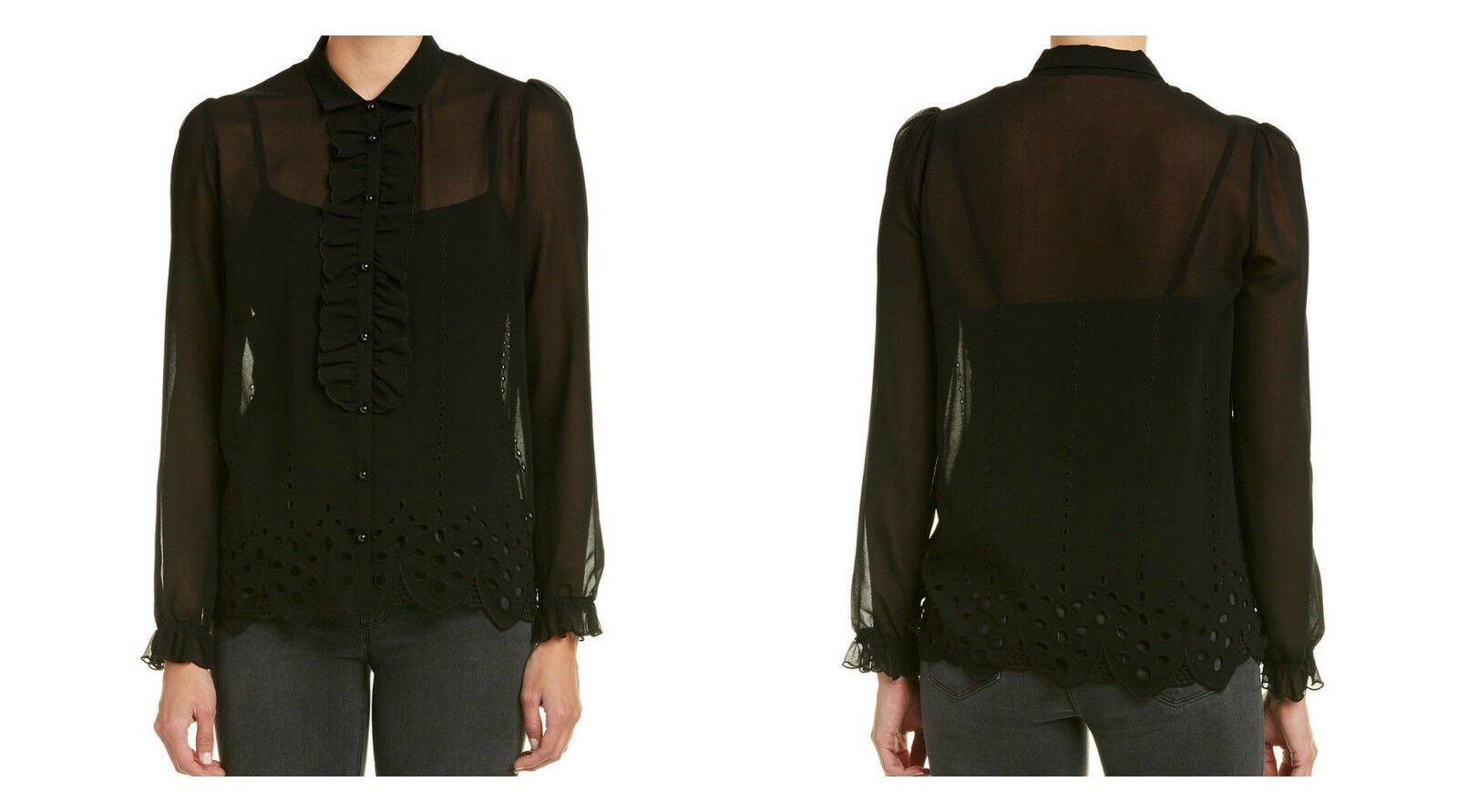 The Kooples damen schwarz Sheer Ruffle Eyelet Detail Long Sleeve Blouse Sz S