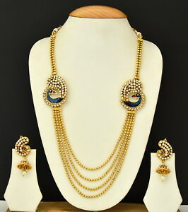 Long Necklace Jewelry Earring Ethnic Gold Plated Peacock Bollywood Indian Set Ebay