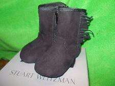 Stuart Weitzman Black Baby boots w/fringe size 1 6wks- 3mths  New~~~SO CUTE!!!