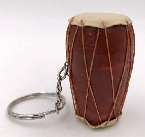 Schlüsselanhänger Djembé Trommel Braun Schlüsselring Holz Ziegenleder Afrika