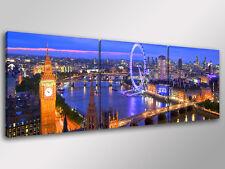 Quadro Moderno 3 pz. LONDRA SKYLINE cm 150x50 arredamento città stampa su tela
