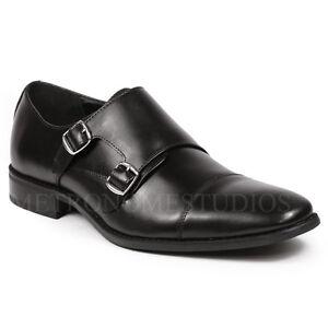 Zapatos-De-Vestir-Correa-Negra-para-Hombre-Monje-doble-Puntera-Clasica-Oxford