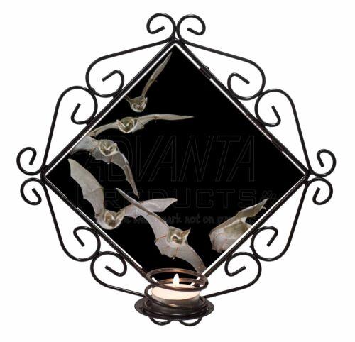 Bats in Flight Wrought Iron T-light Candle Holder Gift A-BAT1CH