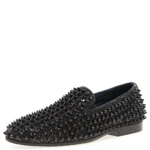 New Men's J75 By Jump Luxor black Spike Studded Slip Ons