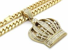 "Mens Gold Iced Out Queen Crown Pendant Hip-Hop 30"" Inch Fat Cuban Necklace Chain"