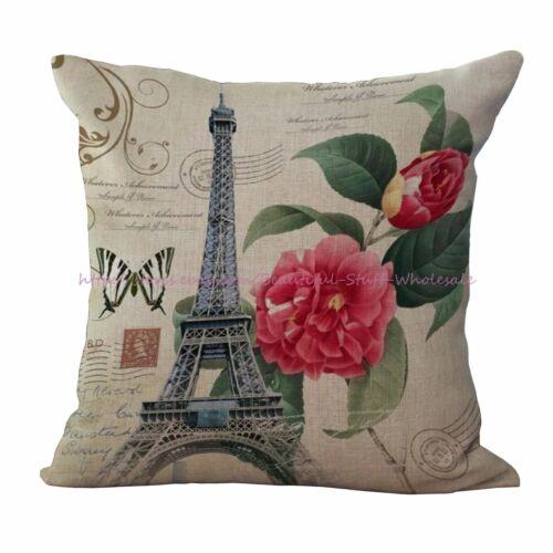 set of 4 Eiffel Tower Europe Paris retro cushion covers decorative pillow case