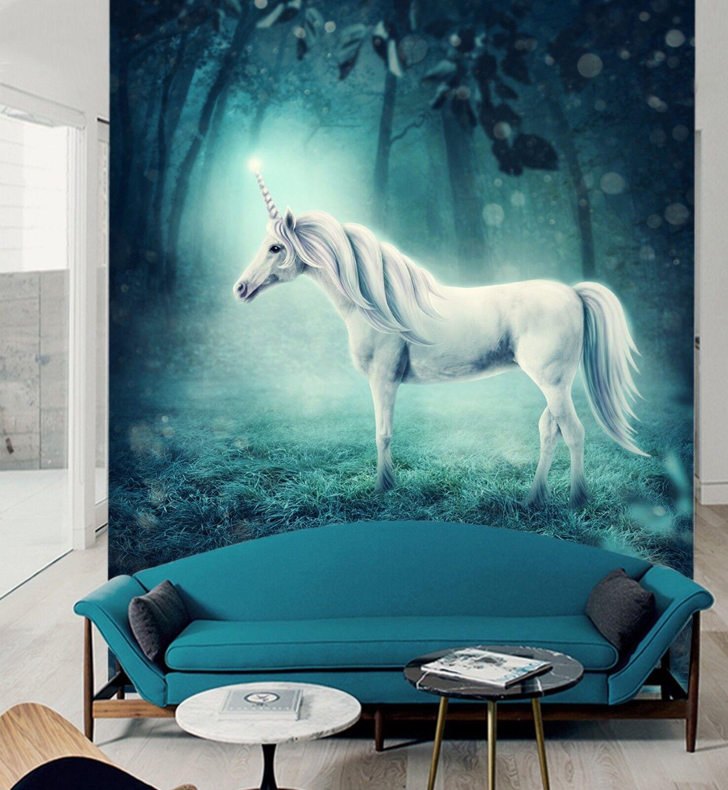 3D Night Forest Unicorn 3 Wallpaper Mural Print Wall Indoor Wallpaper Murals UK