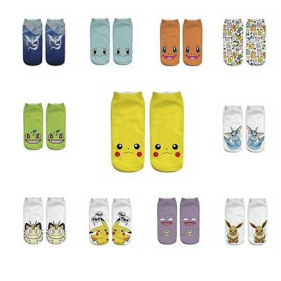 Anime Cartoon Pikachu Character Pocket Monsters Kids Women Short Socks TOP
