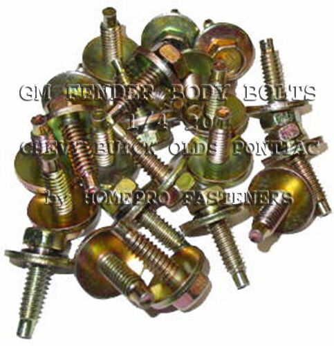 9517 FITS GM CHEVY FITS BUICK FITS OLDS FENDR BDY BOLTS 1//4 25p YELL