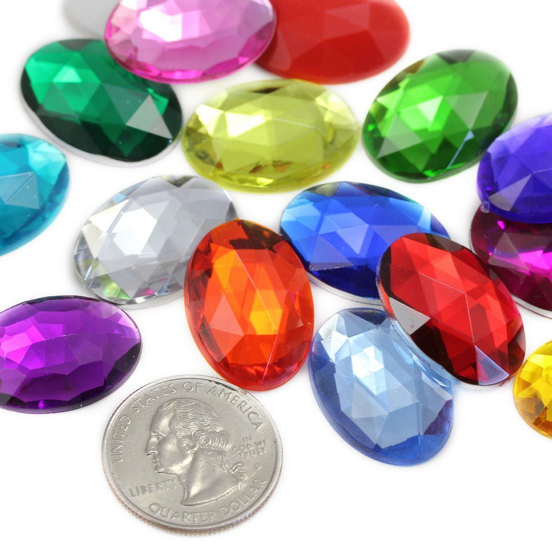 25x18mm Teardrop Pear CLEAR Translucent Foil Flat Back Sew On Acrylic Gems Bead