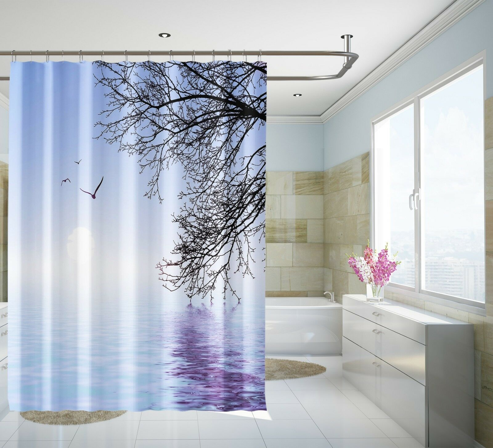 3D Tree Lake 5242 Shower Curtain Waterproof Fiber Bathroom Home Windows Toilet