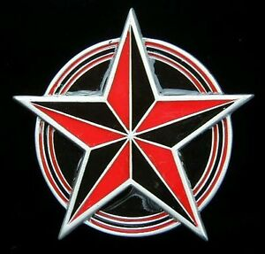 Nautical Star Belt Buckle Buckles Red And Black Striking New Ebay