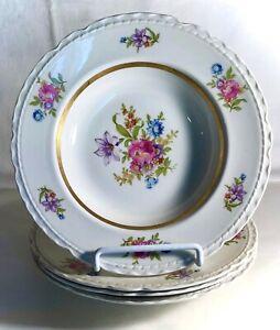 "4 Royal Jackson Scalloped Edge Deanna 8 1/8"" Rimmed Soup Bowls"