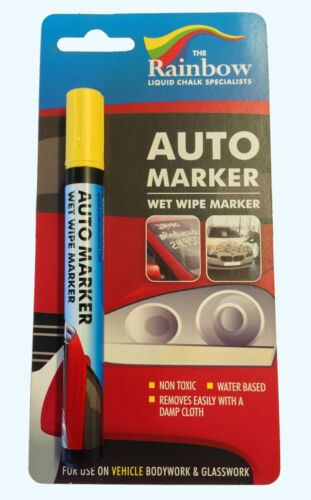 WINDSCREENS AND PANELS YELLOW AUTO MARKER PEN WET WIPE REMOVABLE WATERPROOF