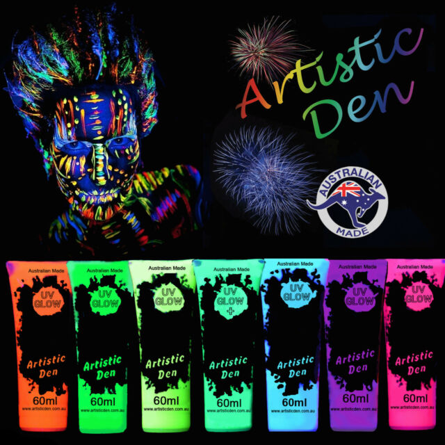 7 X UV Glow Neon Face Body Paint 50ml to 5L Fluoro Party Glow Set Artistic Den®