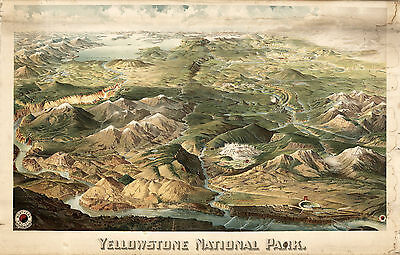 1904 Map Yellowstone National Park Aerial View Wall Art Poster Decor History