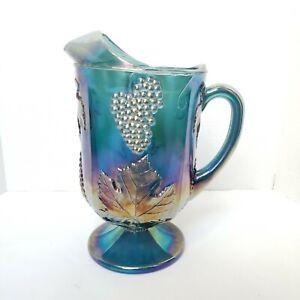 Indiana Carnival Glass Iridescent Blue Large Pitcher Harvest Grape Vintage