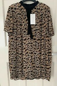 Kleidung & Accessoires Zara Leopard Animal Print Pleated Playsuit Dress With Tie Fastening Size M Bnwt Overalls