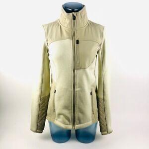 Athleta Womens Activewear Jacket Ivory Color Block Mesh Zip Up Long Sleeve S