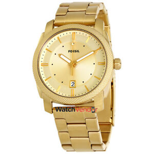 Fossil-Machine-Gold-Dial-Yellow-Gold-tone-Men-039-s-Watch-FS5264