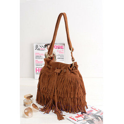 Women Tassel Drawstring Handbag Faux Suede Fringe Shoulderbag Messenger Bag New