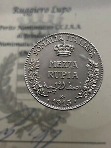 Somalie-Italiana-Vittorio-Emanuele-III-1-2-Demi-Roupie-1915-RAR-Qspl-Expertise