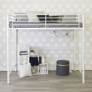 walker edison full metal loft bed in white finish support full size mattress 814055025426 ebay. Black Bedroom Furniture Sets. Home Design Ideas