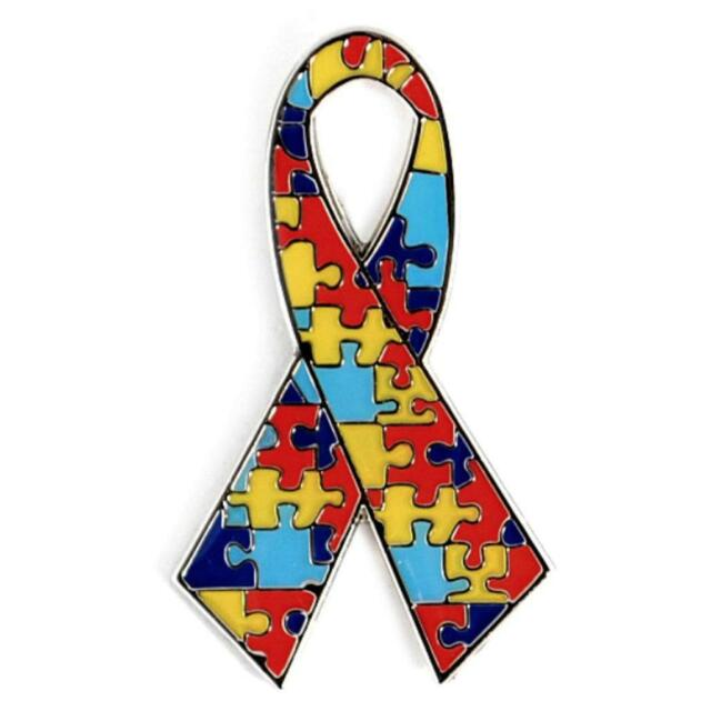 Autism Awareness Ribbon Lapel Pin 1 25 Metal Enamel Hat Tie Tack Badge  Support